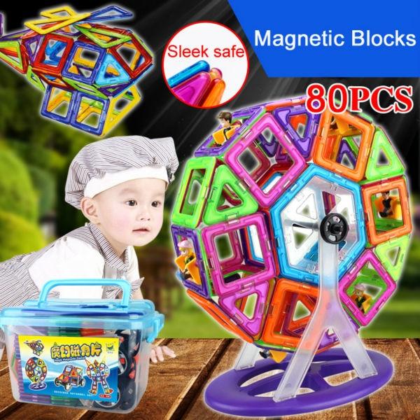 Jouets magnétiques blocs magnétiques grande roue jouet 80 pièces blocs de construction blocs magnétiques 3D bricolage jouet éducatif blocs magnétiques ensemble