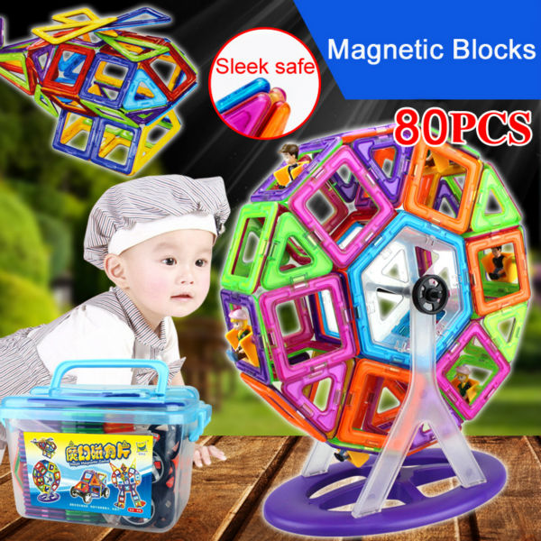 magnetic toys Magnet Blocks Ferris wheel toy 80 pcs Building Blocks Magnetic Blocks 3D diy Educational Toy Magnetic Blocks Set magplayer 3d magnetic blocks assemblage 65pcs magnetic blocks magnetic model diy building blocks educational toys for children