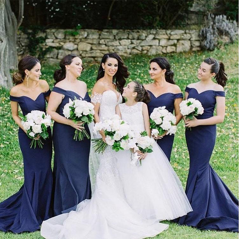 2019 Navy Blue Mermaid   Bridesmaid     Dresses   Off Shoulder Satin Custom Made Plus Size Long   Bridesmaid   Gowns Wedding Guest   Dresses