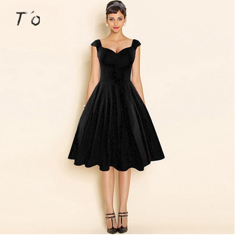T O Womens Elegant Sexy Hot Audrey Hepburn Solid Red Black V Neck Sleeveless Tunic Casual