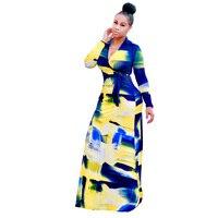 New 2017 summer women cotton dresses floral print deep V-neck long sleeve bow split floor length dresses vestidos HD112