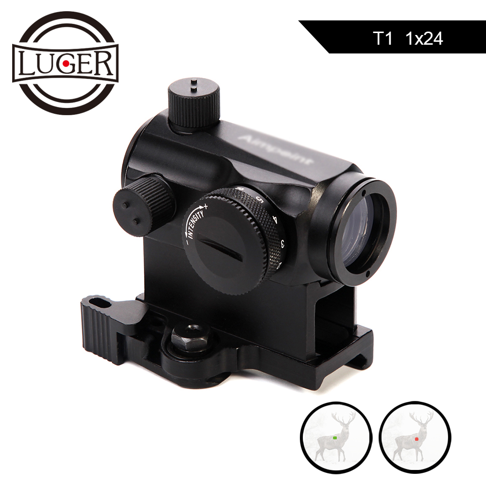 LUGER Red Dot Sight 1X24 Tactical Quick Release Mini Red Green Dot Reflex Rifle Scope Compact Airsoft Collimator SightLUGER Red Dot Sight 1X24 Tactical Quick Release Mini Red Green Dot Reflex Rifle Scope Compact Airsoft Collimator Sight