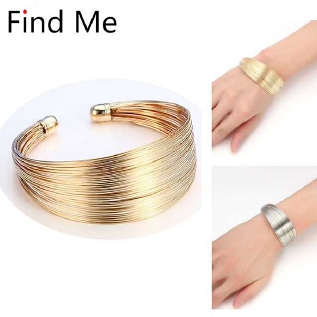Find Me 2019 brand Classic Opening Alloy Wide big Cuff Bracelet For women Jewelry Vintage punk Elegant Maxi Bracelets & Bangles