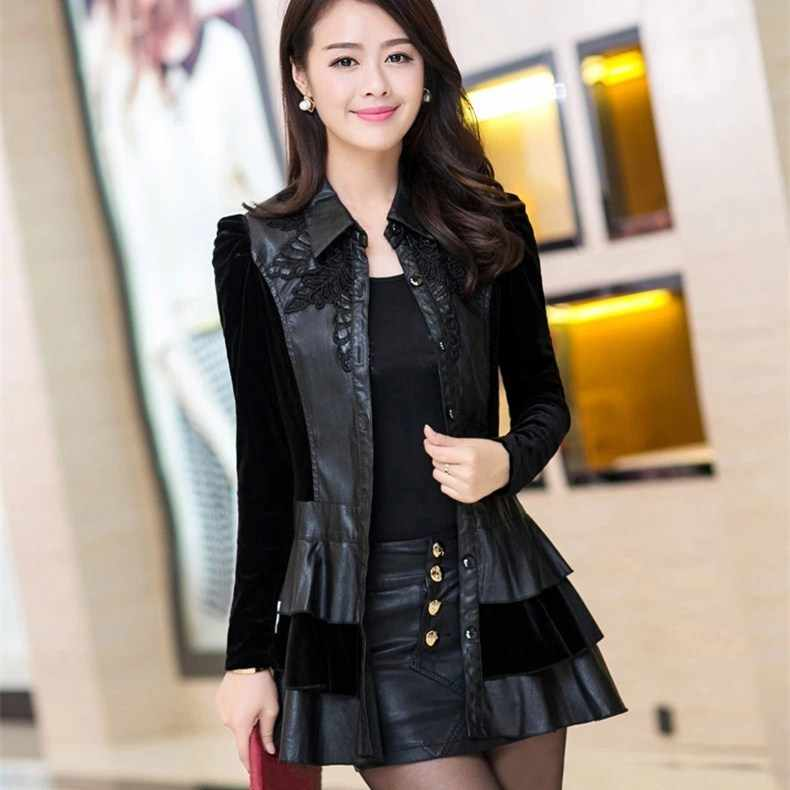 4Xl Autumn Winter Pu Leather Black Jacket Women Long-Sleeve Thin Long Outerwear Casual Turn-Down Collar Slim Coat