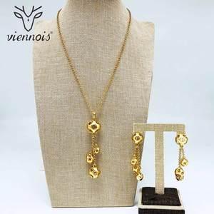 Image 2 - Viennois חדש לערבב צבע & זהב צבע להתנדנד עגילי ארוך תלוי שרשרת סט לנשים מתכת המפלגה תכשיטי סט
