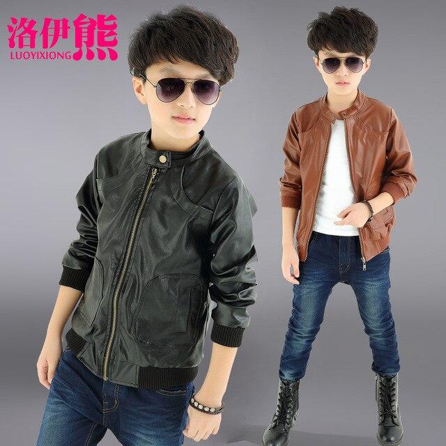 2018 новый для маленьких мальчиков Искусственная кожа куртка пальто для мальчиков черный и коричневый цвета Цвет детские куртки Manteau Garcon Детская куртка Размер на 4–12 лет
