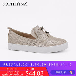 SOPHITINA Luxury Woman Loafers Genuine Leather Lace-up Flats Retro Round Toe Solid Casual Female Shoes Soft And Comfortable P84