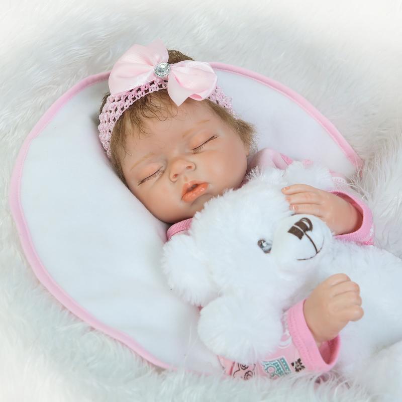 55cm Mjuk Silikon Reborn Sova Baby Doll Livlig Nyfödd Alive - Dockor och tillbehör - Foto 6