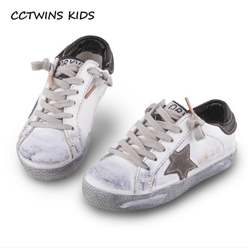 CCTWINS KIDS 2018 Toddler Baby Genuine Leather Shoe Girl Star Slip-On Sneaker Boy Sport Shoe Kid Children Causal Trainer FSL2254