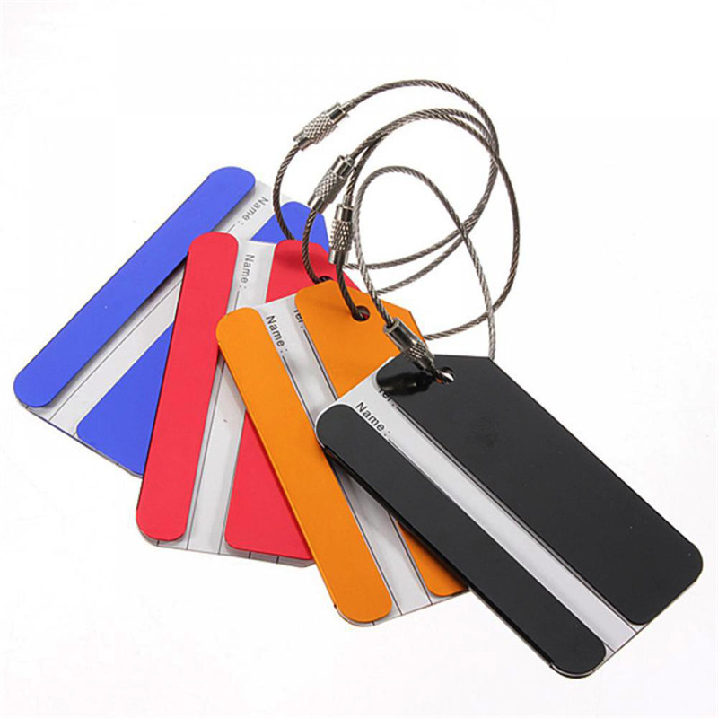1 Pcs Hohe Qualität Aluminium Metall Reise Gepäck Tags Praktische Feste Farbe Gepäck Koffer Tasche Etiketten Name Adresse