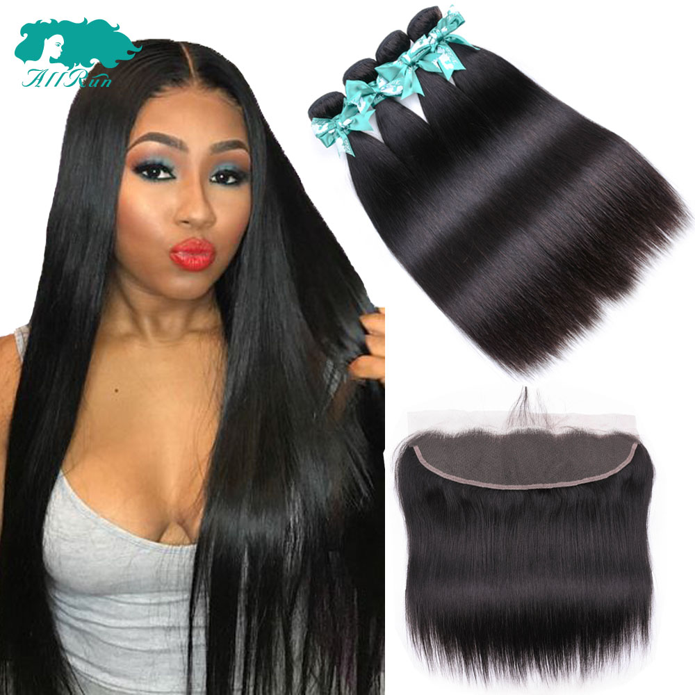 Allrun Brazilian Straight Hair Weave Bundles With 13*4 Lace Frontal Free Part Straight Human Hair Extension Bundles With Closure