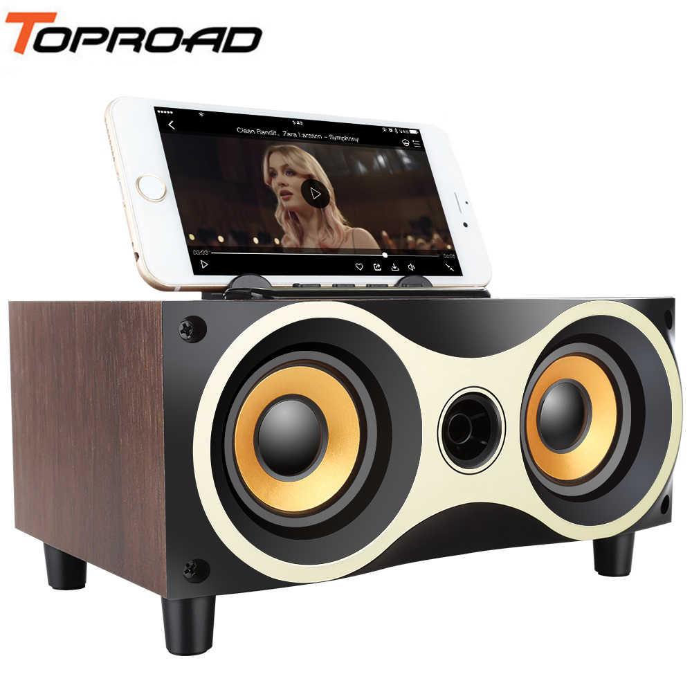 Toproad Desktop Nirkabel Bluetooth Speaker Subwoofer Stero Kayu Speaker Mendukung FM Radio MP3 AUX USB Handsfree MIC Caixa Som De