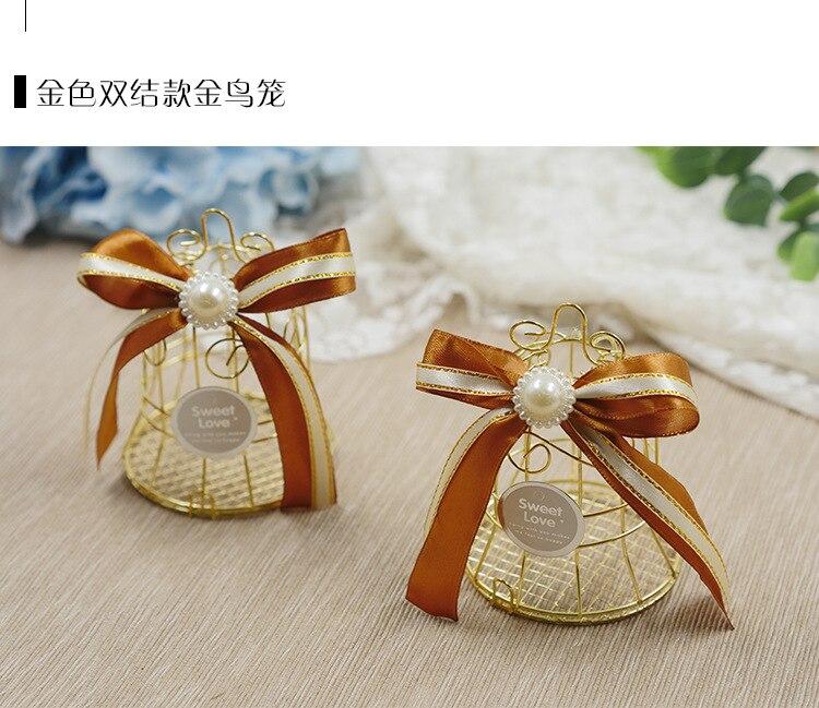 Golden Bird Cage Bell Wedding Favor Candy Box Celebration Party