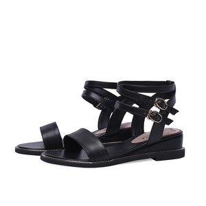 Image 4 - Smirnova 2020 dété nouvelles chaussures femme Décontracté sandales à talons compensés femmes talons en cuir véritable chaussures femmes boucle grande taille 34 43