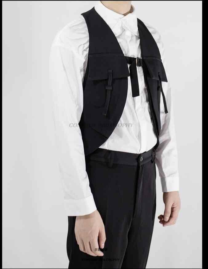 S-6xl 潮男性の服ヘアスタイリストデザイナー不規則な人格ベストコート黒カジュアルなアウターウェアベストプラスサイズ衣装