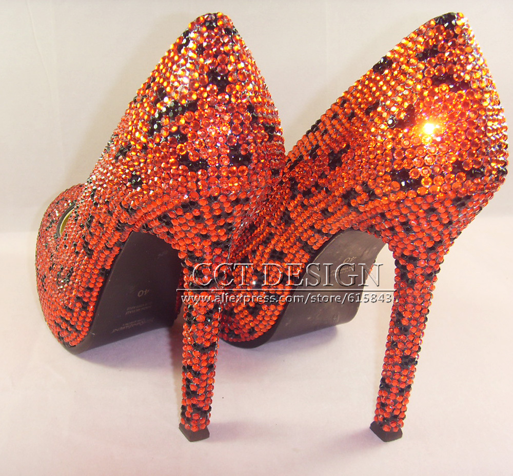 2017 women sexy high-heeled red Rhinestone high platform wedding pumps high heels shoes shinning crystal 14cm bride pumps