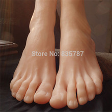 19cm 43# male Silicone Fake Foot,Inner-Bone Inside,Toe Move Freely,Feet Model,Shoe Model F-504