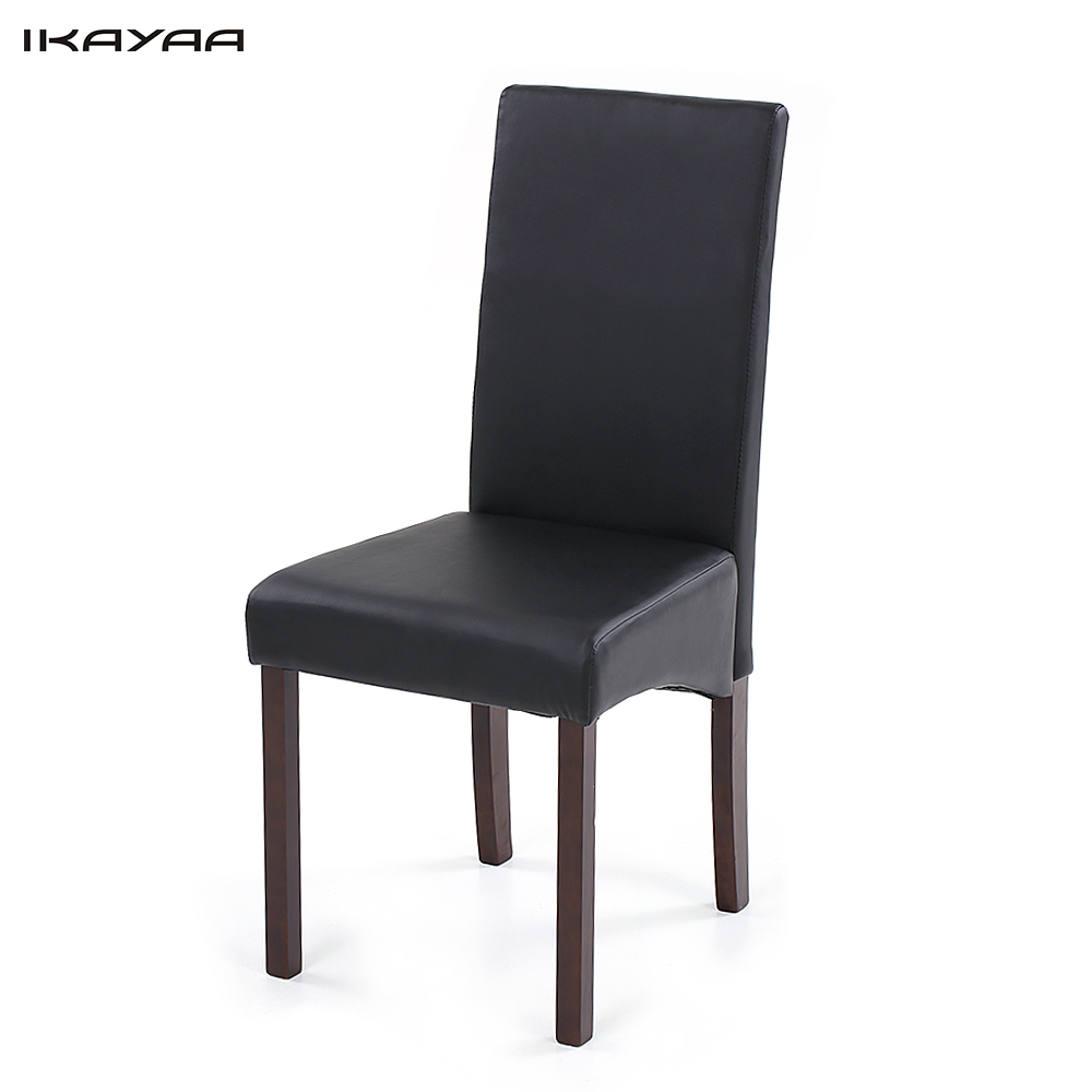 ikayaa us stock 2pcsset of 2 modern faux dining chairs high back wood frame padded kitchen side parson chairs breakfast stools - Kitchen Stools