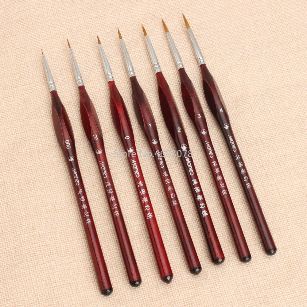 7Pcs Professional Sable Hair Paint Brush Set - Miniature Art Brushes For Drawing Gouache Oil Painting Brush Art Supplies