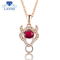 Solid 18K Rose Gold Diamond With Oval 4x5mm Natural Red Ruby Taurus Pendant WP086F
