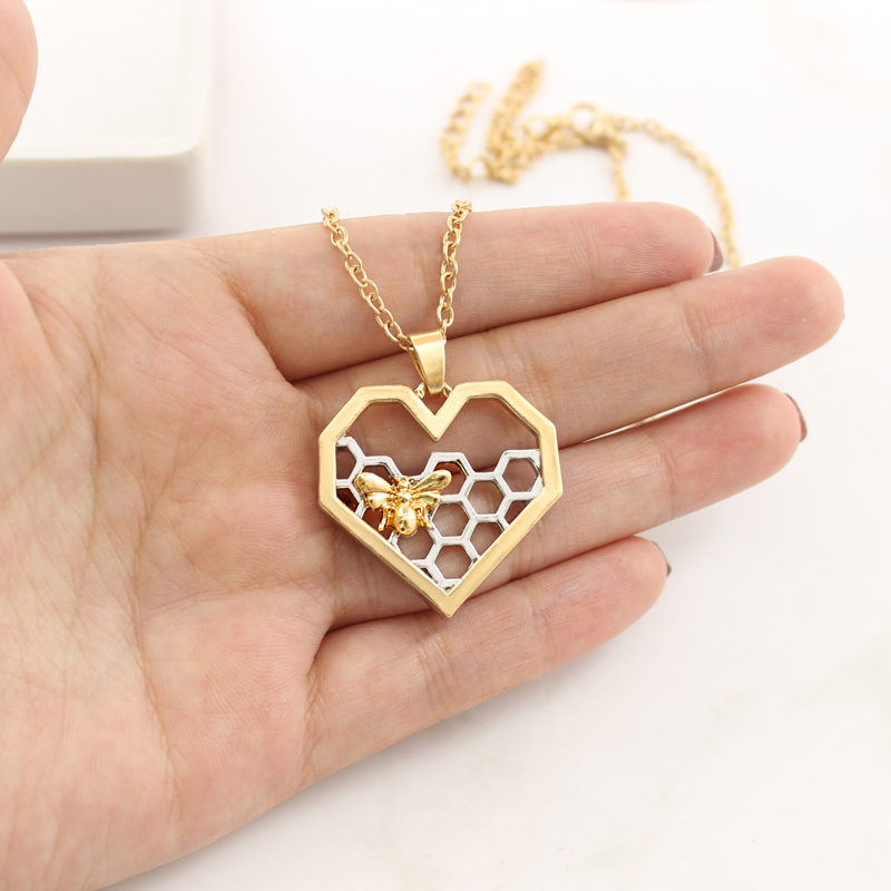 Bee Honeycomb Necklace Silver Heart Shape Honeycomb Pendant Gold Bee Necklace Honey Bee Necklace Jewelry