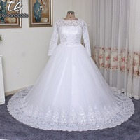 Vintage Long Sleeves Arabic High Neck Plus Size Wedding Dresses With Appliques Beaded Long Bridal Ball