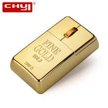 CHYI Wireless Mouse Luxury Bullion 2.4Ghz USB Rechargeable Gold Bar Wireless Gaming Mice Gift Golden Mouse for Computer Laptops