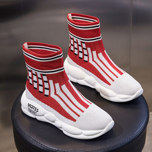 Outdoor High-top Sock Sneakers Women Casual Walking Shoes 2019 New Breathable Comfortable Black and Red Sock Shoes for Women цены