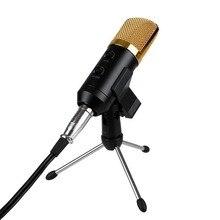 Звук Studio Запись микрофон конденсаторный микрофон с подставкой для портативных ПК компьютер mikrafone для трансляции прямо петь Skype