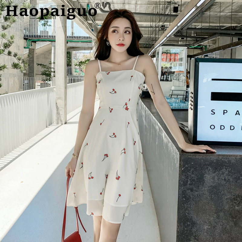 Spaghetti Strap Summer Dress <font><b>2019</b></font> Backless Print Cherry Midi Dress for Ladies <font><b>Vestido</b></font> <font><b>Largo</b></font> <font><b>Verano</b></font> <font><b>Mujer</b></font> Jurken Zomer <font><b>2019</b></font> Robe image