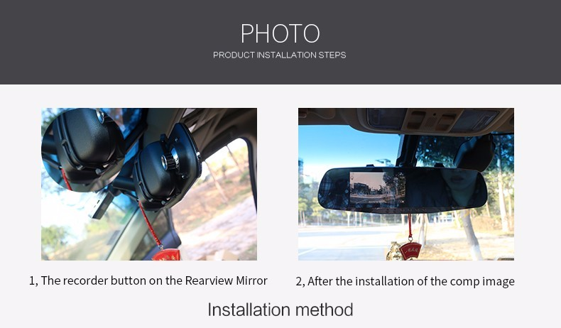 E-ACE Car Dvr Camera Led Lights Blue Rearview Mirror FHD 1080P Night Vision Video Recorder Dual Lens Auto Registrator Dash Cam 29