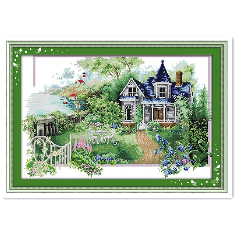Deal El verano casa Bordado conjunto Cruz Joy Domingo Cruz puntada chino  contado cross stitch Pegatinas para uñas kits 11ct impreso en lona - ES  Store f246310991cd