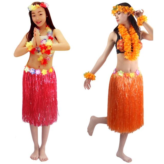 60cm 5pcs/set encryption thickening women Hawaiian Hula Skirt Suit lady dance grass dress Hawaii Beach Festive Party Supplies