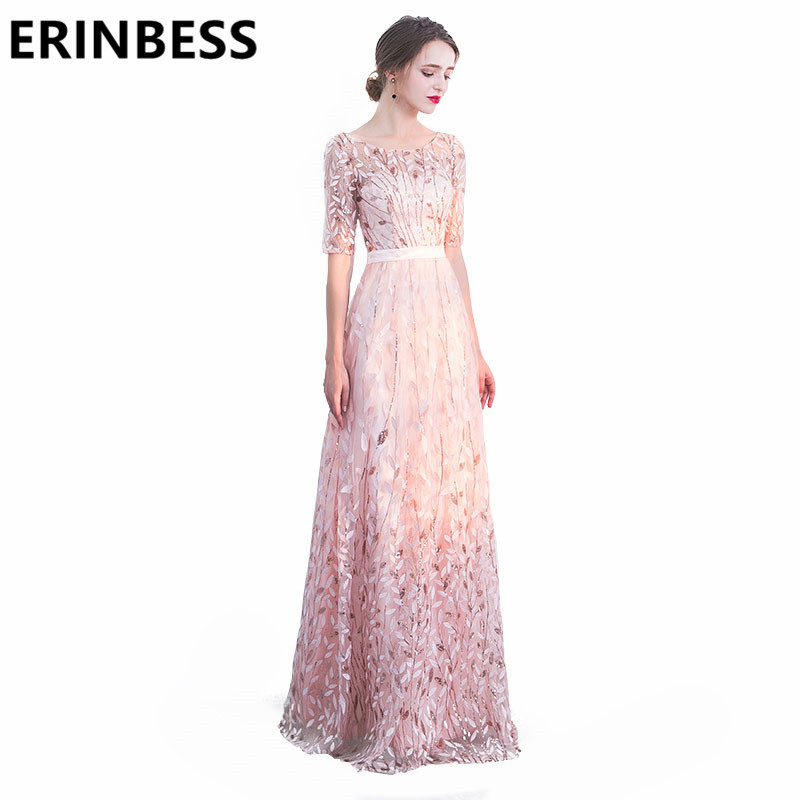 New Arrival A Line Scoop Neck Appliques Long Floor Length Pink Evening Dresses Women Formal Party Gowns