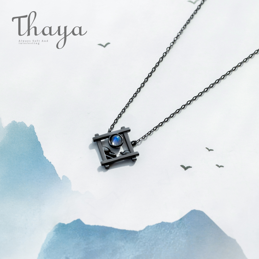 Thaya Endless Night Blue Natrual Moonstone Pendant Necklace s925 Silver Sky Window Cloud Mysterious Black Jewelry for Women dana mentink endless night