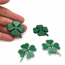 2pcs/set Four Leaf Clover Chrom Metal Badge Emblem Sticker Love Healty Lucky Symbol For Alfa Romeo Car Styling Accessories