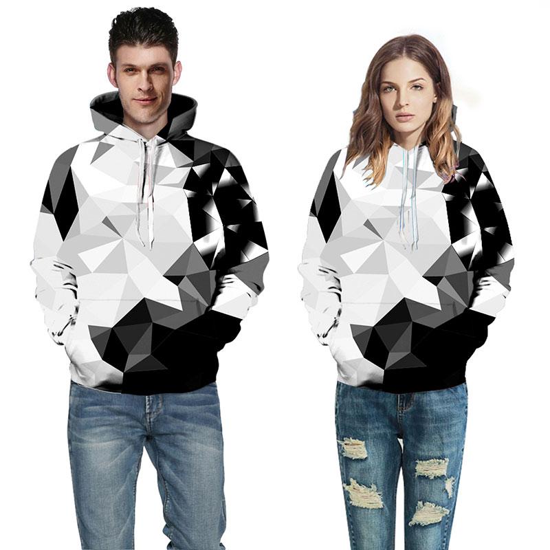 Headbook Argyle Color Blocks Hoodies Men/Women 3d Sweatshirts Print White Black Diamonds Blocks Hooded Hoodies YXQL285