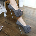 Hot Sales New Women Pumps 2016 Korea Princess Beautiful Glitter 16.5CM Super High Heel Women Pumps Shoes  2 Colors  SIZE 35-40