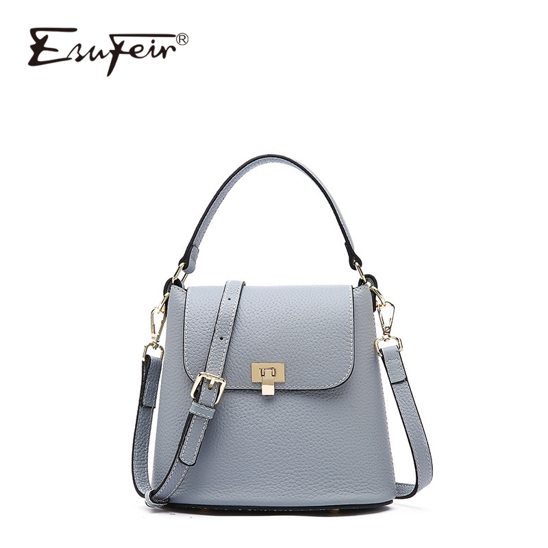 ESUFEIR Genuine Leather Fashion Women Bucket Bag Luxury Handbags Women bags Designer Women Messenger Bag Leather Bucket Tote Bag