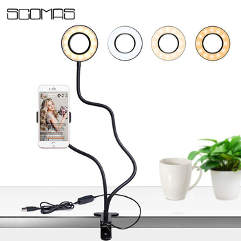 SCOMAS Selfie Ring Light with Cellphone Holder Clip Stand LED Annular Lamp Camera Video Ring Light for Makeup Photography Light new garmin watch 2019