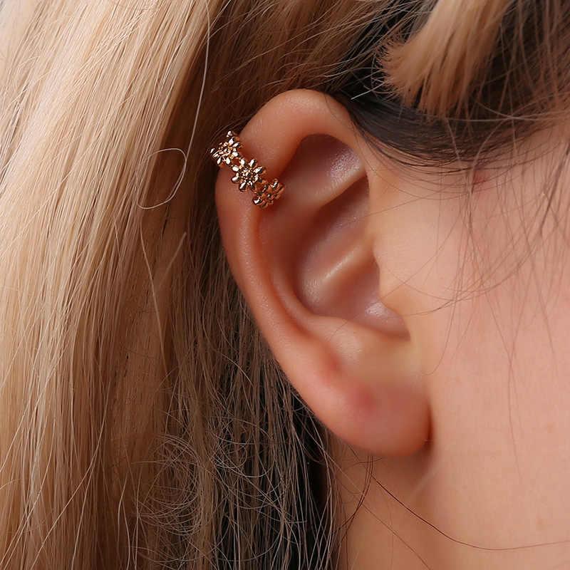 Japonês simples pequeno fresco em forma de u pequena margarida flores curva orelha clipe feminino coreano metal proteção ambiental orelha-menos