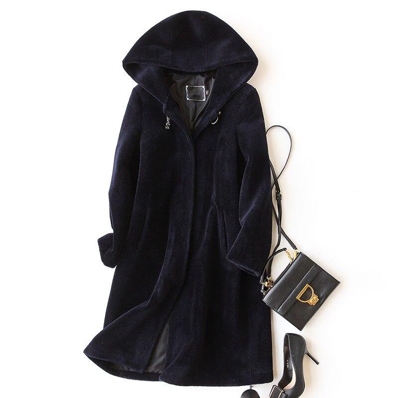 Mouton Yq994 Fourrure Pour De 2019 Capuchon Manteau Mode Femmes Naturel Manteaux Blue Réel Green Dark Laine army Vestes Ayunsue À black D'hiver EwBaqtYE