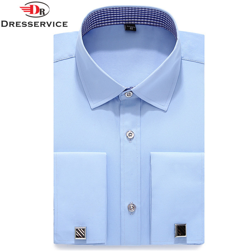 Dresservice 2017 new mens french cufflinks long sleeve for Mens dress shirts french cuffs