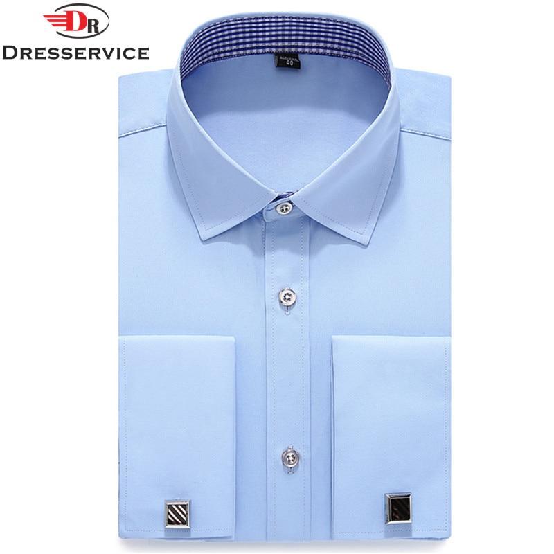 DRESSERVICE 2017 New Mens French Cufflinks Long Sleeve Shirt
