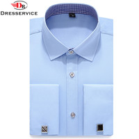 DRESSERVICE 2017 New Mens French Cufflinks Long Sleeve Shirt Male Shirts French Cuff Dress White
