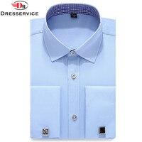 DRESSERVICE 2017 New Mens French Cufflinks Long Sleeve Shirt Male Shirts French Cuff Dress White