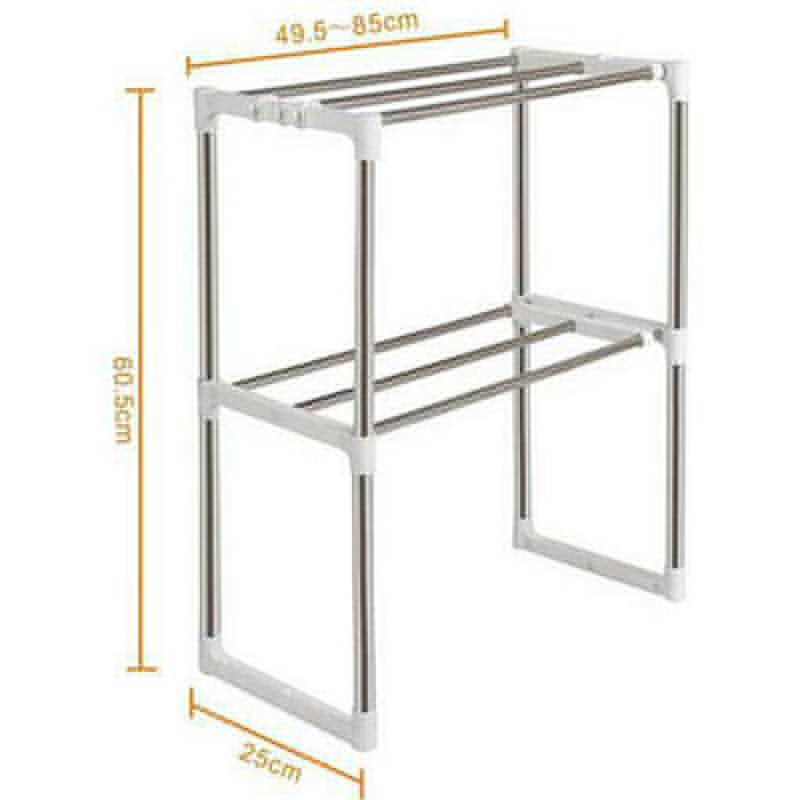 unids ajustable de acero inoxidable horno microondas estante estante de pie tipo doble cocina del