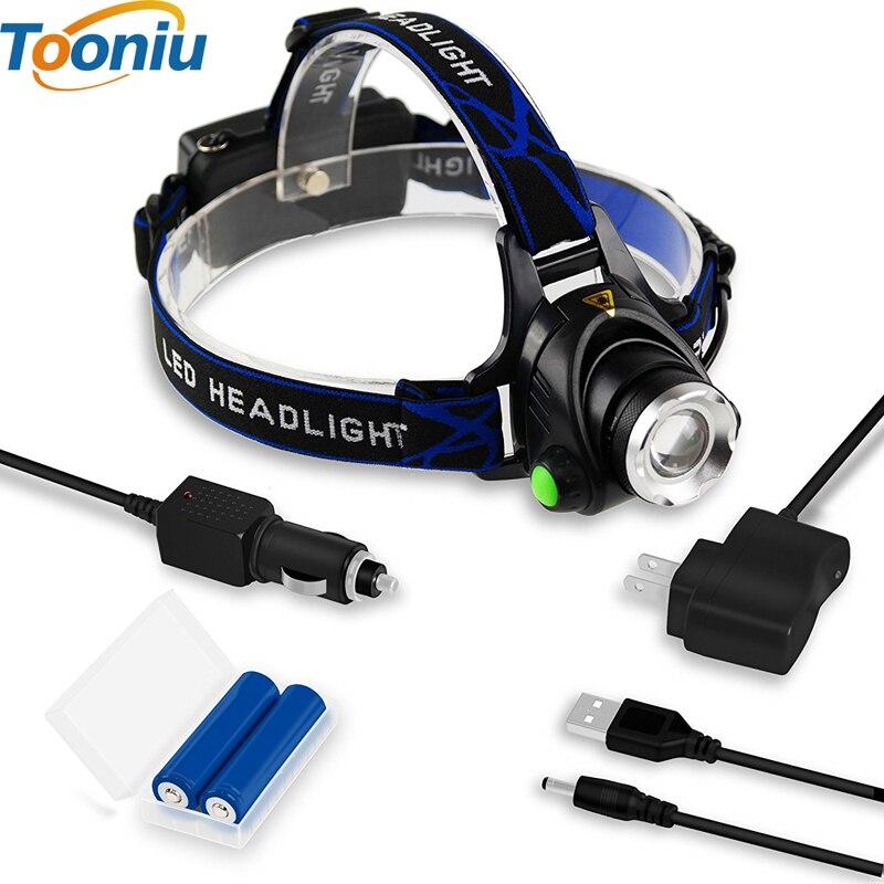 Tooniu Led Headlamp Lantern XM-L L2 5000LM Head Lamp Flashlight Torch T6 Lanterna Headlamps Flashlights use 18650 Battery