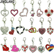 JINGLANG Mixed Style Heart Charms Alloy Pendant For Necklaces/Bracelets DIY Female Fashion Jewelry Accessories 12pcs
