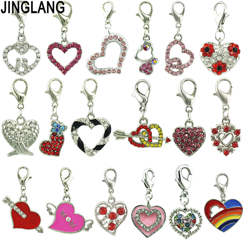 JINGLANG Mixed Style Heart Charms Alloy Pendant For Necklaces/Bracelets DIY Female Fashion Jewelry Accessories 12pcs title=